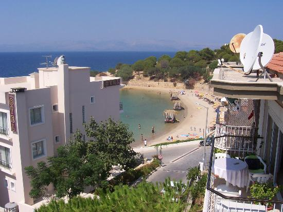 Otel Maro: View of beach, sea and Chios Island from terrace