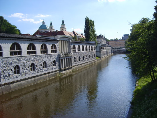 Ljubljana, Slovénie : River through town