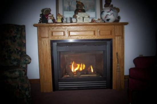 Honeywood Inn: fireplace in breakfast room