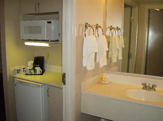 Quality Suites at Lake Wright : Microwave, Fridge, Vanity Sink