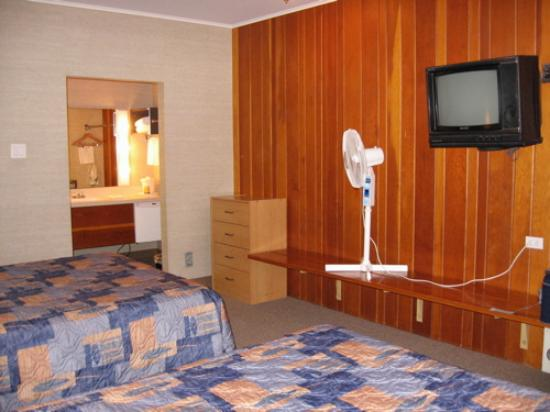 Paul's Motor Inn: The TV, fan (no A/C), and a view of the vanity area