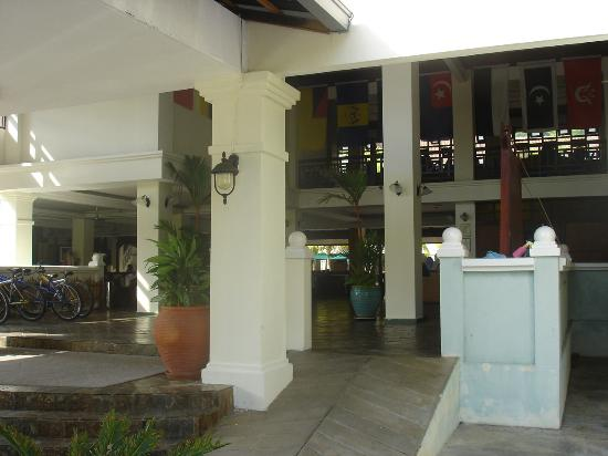 The Lanai Langkawi Beach Resort: the entrance counter looks like a run down clubhouse