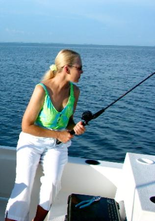 Me fishing from the pontoon boat picture of cape san for Fishing pontoon boat reviews
