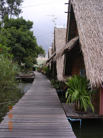 Bungsamran Fishing Resort: A view of Bungsamrans bungalows along one of its many rustic wooden walkways