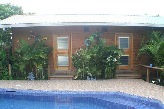 Garden of Eden Inn: Our room, overlooking the pool on one side with a deck and hammock on the other