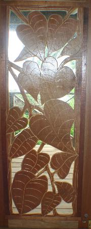 Garden of Eden Inn: Doors that Bob had carved himself