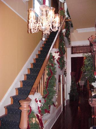 HH Whitney House on the Historic Esplanade: Front Staircase Decorated at Christmas