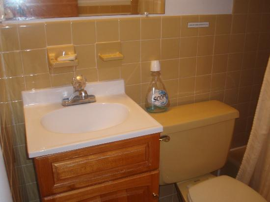Roman Holiday Motel: tiny bathroom sink, old yellow tiles