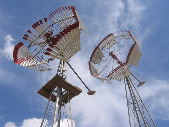 Lubeca, TX: Colorful wooden windmills displayed at the American Wind Power Center