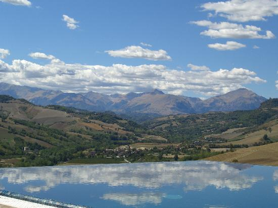 Montelparo, Italy: A view over the pool to the Sibillini Mountains