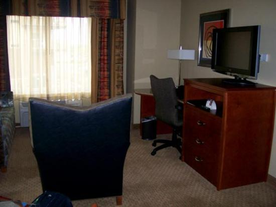 Holiday Inn Hotel & Suites Maple Grove - Arbor Lakes: The living room features a large flat screen TV and furnishings include a foldout sofabed.