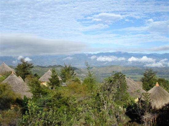 The Baliem Valley Resort: View over the hotel 'huts'