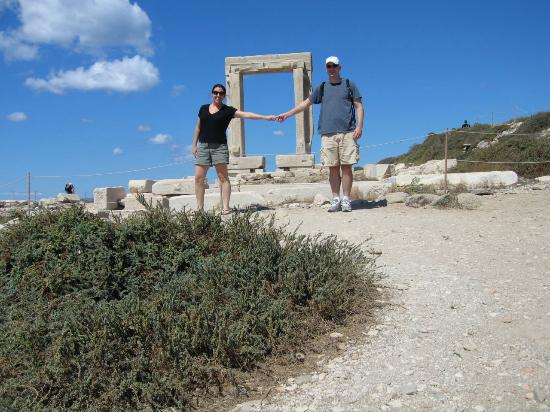 Windmill Naxos: Posing at Portara Gateway