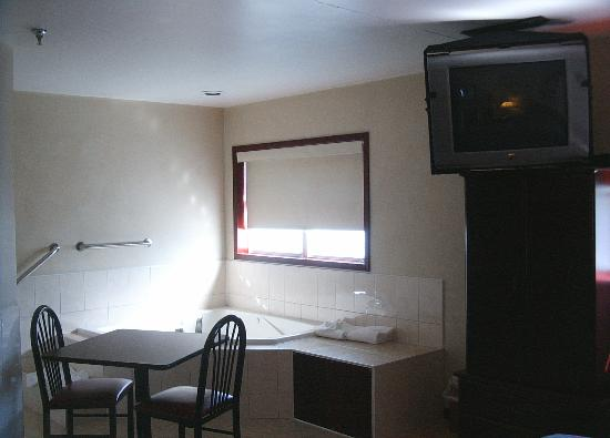Wolf Clan Hotel: Inside room looking into Jacuzzi. Swivel TV to right, bath to left.