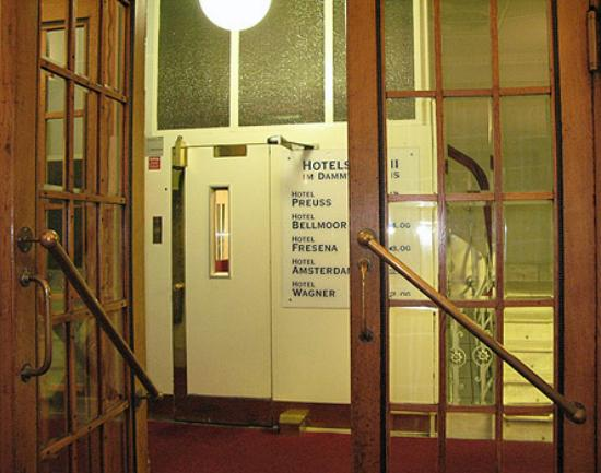 Amsterdam Hotel : Hotel entrance - notice the sign for 5 different hotels