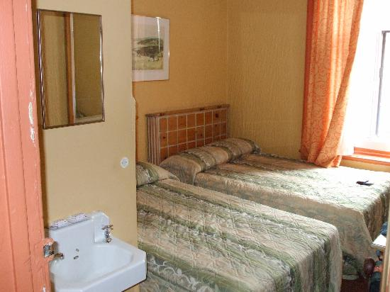 Hôtel Arena Palace: Room pic with sink and beds.  I recommend you not touch the bedspreads!