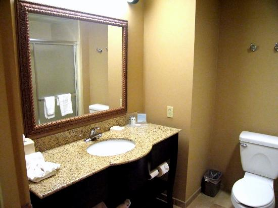 Hampton Inn Nanuet: Room 108 bathroom with granite vaniity