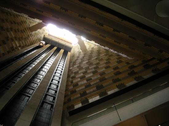 Pan Pacific Singapore: View looking up the middle (it is high)