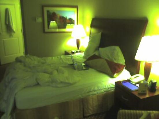 Hilton Garden Inn Plymouth: The messy bed...again our fault. :)