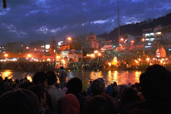Ganga Aarti held every sunset at Harki Pauri, Haridwar.