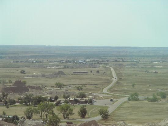 Badlands Inn, center of photo; Visitors' Center in foreground