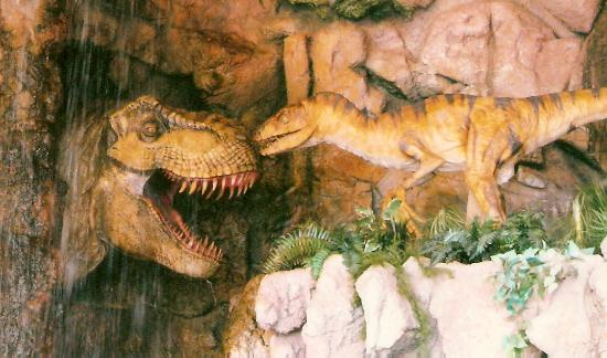 Jurassic Jungle Boat Ride: Close up of Outside Dinosaurs at entrance of Jurassic Jungle Boat