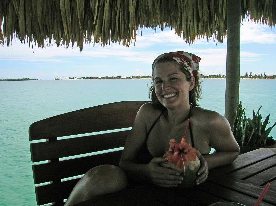 Chabil Mar: me on the dock enjoying a coco loco...so good