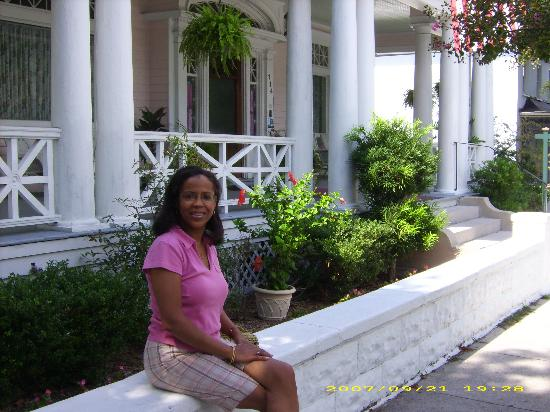 my wife in front of the Rosehill Inn