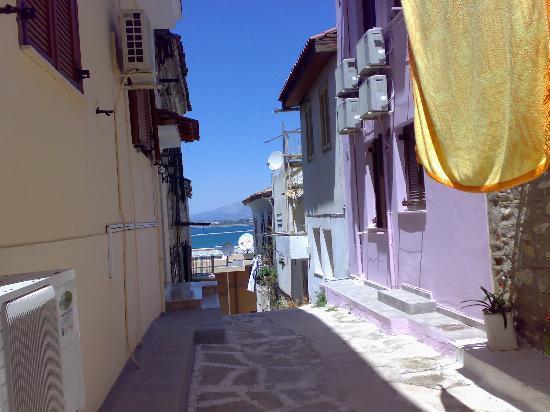 Ligeia Pension : The Psarron street - towards the bay