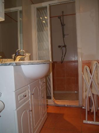 Auberge du Teillon : Our bathroom (sorry didn't have a wide angle lense) but it was nice!