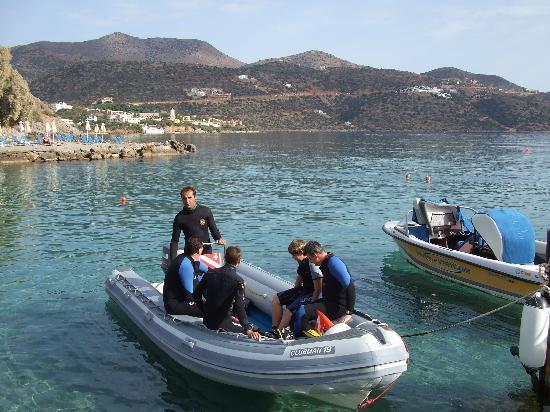 Dessole Mirabello Beach & Village: The hotel dive boat off for a trip