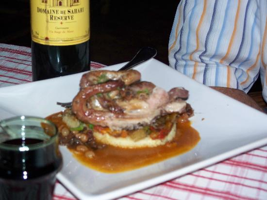 Another delicous dinner at Chez Pierre - Chicken over couscous. The Moroccan wine wasn't bad eit