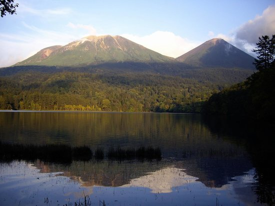 Akan National Park, Japan: Meakan dake from Onneto Lake, Early October