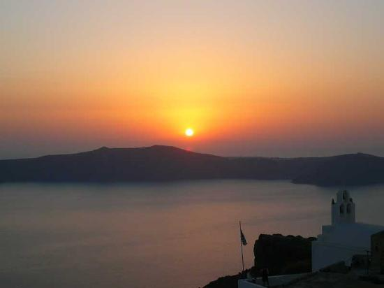 The view of the sunset over the caldera from our balcony
