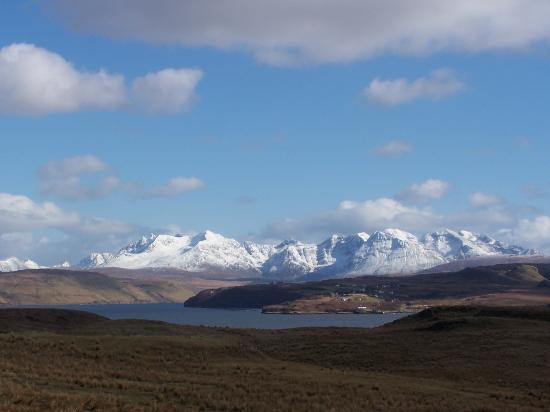 Isle of Skye, UK: The Black Cuillin in winter from Roag