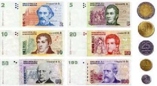 Pesos notes and coins