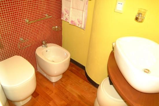 il bagno: piccolo ma confortevole, con doccia, wc, bidet e lavabo ...