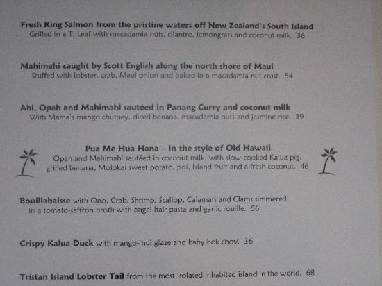 Dinner menu picture of mama 39 s fish house paia tripadvisor for Fish house menu