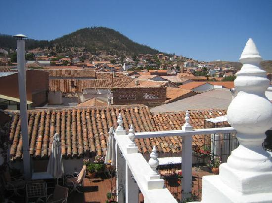El Hostal de Su Merced: view from top terrace over roofs of Sucre