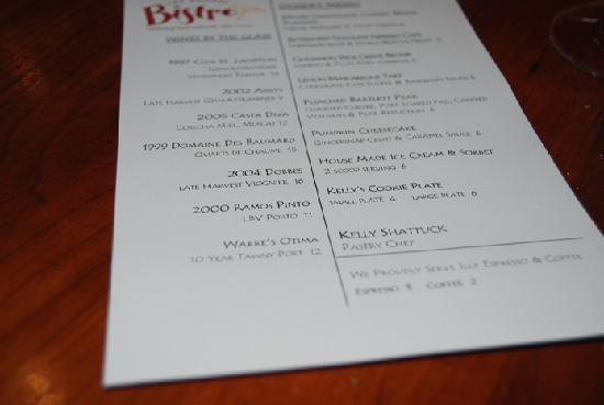 Dessert Menu at Dundee Bistro