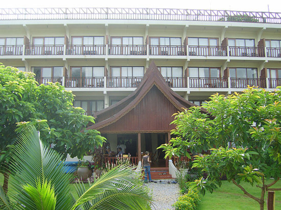 The Elephant Crossing Hotel: Looking back at the hotel from Gardens