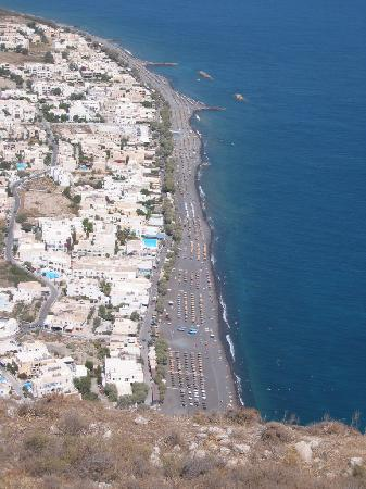 Ancient Thera : Looking down on the black sand beach