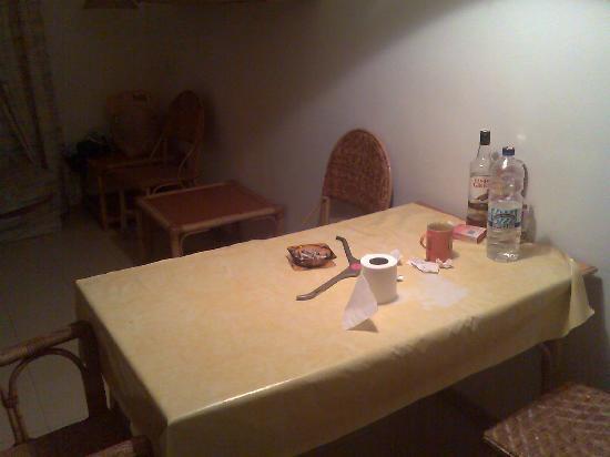 Lotus Apartments : dirty ashtray and alchol bottles