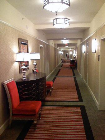 The Skirvin Hilton Oklahoma City: A typical hallway at the hotel.