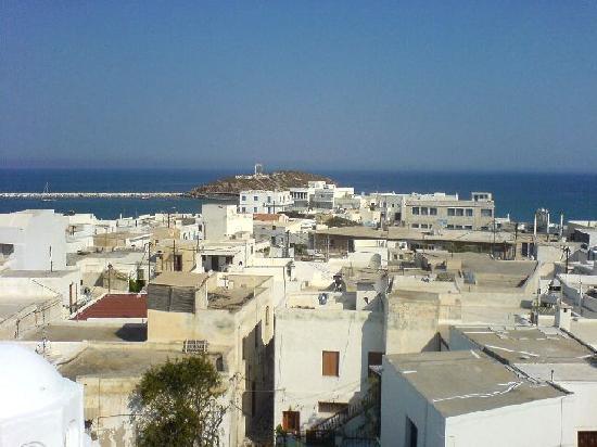 Despina's Rooms : Aussicht von Despina's Terrasse auf Porta Portal Naxos