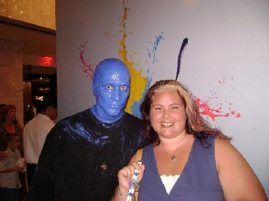 Blue Man Group: Me, the Blue Man, and my Swatch watch.