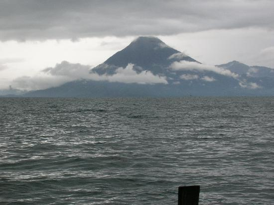 Vulcano Lodge: view from the boat on Lake Atitlan