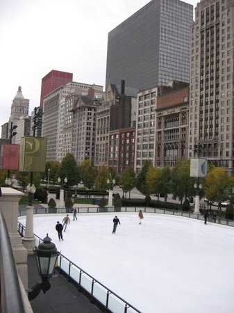 McCormick Tribune Ice Rink by day looking south along Michigan Ave