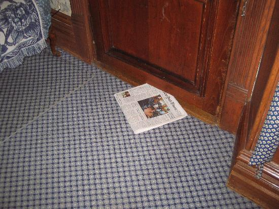 Inn New York City: NY Times, delivered under door every morning.