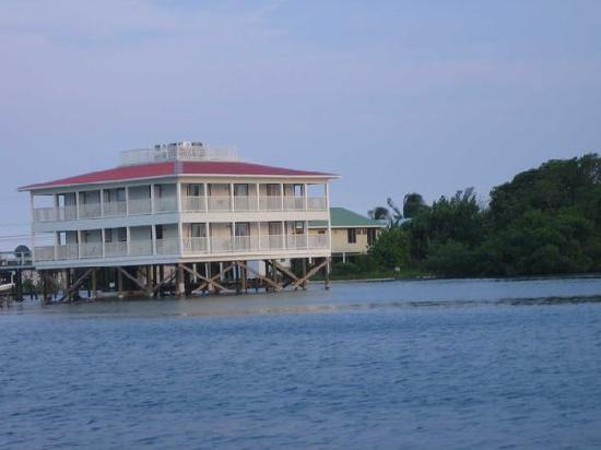 The Lighthouse: View of the hotel from the dive boat